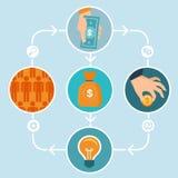 Crowdfunding Konzept des Vektors in der flachen Art Lizenzfreies Stockbild