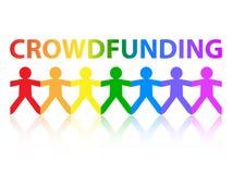 Crowdfunding papieru tęczy ludzie royalty ilustracja