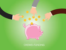 Crowdfunding. People give money and store or collected in piggy bank vector illustration