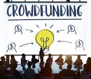 Crowdfunding pieniądze biznesu żarówki grafiki pojęcie Obraz Stock
