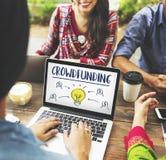Crowdfunding pieniądze biznesu żarówki grafiki pojęcie Zdjęcie Stock