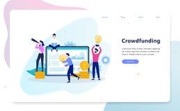 Crowdfunding poj?cia ilustracja Grupa ludzi daje pieniądze ilustracji