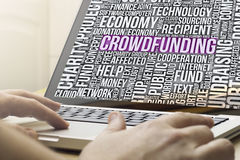 Crowdfunding on a screen Royalty Free Stock Photography