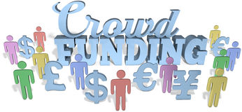 Crowdfunding social people invest. In international business startup project royalty free illustration
