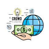 Crowdfunding strategy project to finance support. Vector illustration Royalty Free Stock Photography