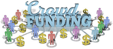 Crowdfunding US people start investing. Crowdfunding social people invest in international business startup project royalty free illustration