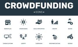Crowdfunding ustalone ikony inkasowe Zawiera prostych elementy tak jak rynek, twórca, zwolennik, Funduje platformę i Gromadzić fu ilustracji
