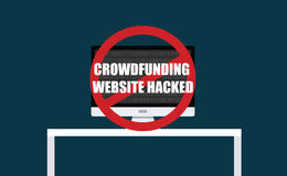 Crowdfunding website hacked. Steal computer virus royalty free illustration