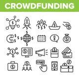 Crowdfunding, Wspólne Inwestorskie Wektorowe Liniowe ikony Ustawiać ilustracji