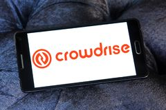 Crowdrise Online fundraising logo. Logo of Crowdrise Online fundraising on samsung mobile. CrowdRise is a for-profit crowdfunding platform that raises charitable Stock Images