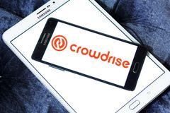 Crowdrise Online fundraising logo. Logo of Crowdrise Online fundraising on samsung mobile. CrowdRise is a for-profit crowdfunding platform that raises charitable Stock Photo