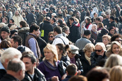 Crowds. Gather inside Vatican City, Rome, Italy for the mass