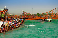 Crowds on the bank of ganga in Haridwar Stock Photo
