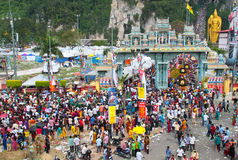 Crowds At Batu Cave Entrance During Thaipusam Stock Photography