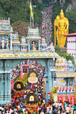 Crowds At Batu Cave Entrance During Thaipusam. BATU CAVE, MALAYSIA - January 20 : Large crowd at the entrance of Batu Cave temple, Malaysia during Thaipusam on Stock Photography