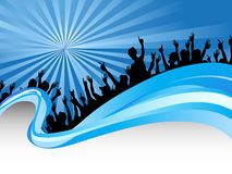 Crowds in blue ray background Stock Photos