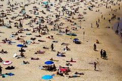 Crowds on Bondi Beach. On a Summer day, in Sydney Stock Image