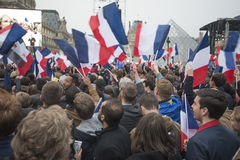 Crowds celebrate Macron`s victory at the Louvre Museum Royalty Free Stock Images