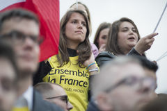 Crowds celebrate Macron`s victory at the Louvre Museum Royalty Free Stock Photos