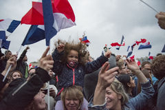 Crowds celebrate Macron`s victory at the Louvre Museum Royalty Free Stock Photo