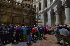 Crowds in the church of the holy sepulcher Stock Photos