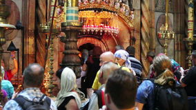Crowds at the Church of the Holy Sepulchre stock video