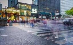 Crowds crossing road in Osaka royalty free stock image