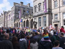 Crowds during Edinburgh festival. Elevated view of crowds on Royal Mile during Edinburgh festival Stock Photo
