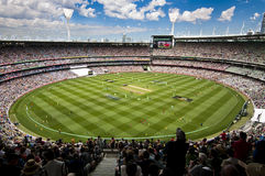 Crowds enjoy during match break at MCG Stock Images