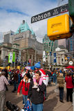 Crowds enjoying events at Robson Square during the Olympics Stock Photography