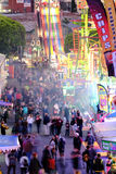 Crowds enjoying side show alley at the Ekka Royal Queensland Show in Brisbane Royalty Free Stock Photography