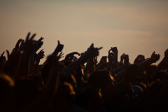 Crowds Enjoying Themselves At Outdoor Music Festival Royalty Free Stock Photos