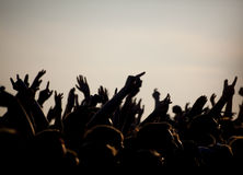 Crowds Enjoying Themselves At Outdoor Music Festival.  stock images