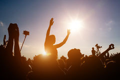 Crowds Enjoying Themselves At Outdoor Music Festival Stock Photos
