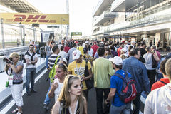 Crowds of fans at the pit lane. Sochi, Russia -9 November 2014 : Formula One, Russian Grand Prix,  Sochi autodrom , 16 stage Royalty Free Stock Images