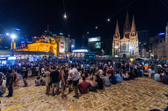 Crowds at Federation Square Royalty Free Stock Photography
