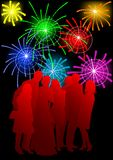 Crowds on fireworks. Vector drawing crowds on holiday. Silhouettes of men and women Royalty Free Stock Image