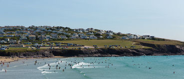 Crowds flock to Polzeath beach Cornwall Stock Photo