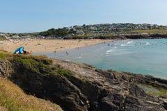 Crowds flock to Polzeath beach Cornwall Royalty Free Stock Image