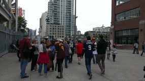 Crowds. Gather outside Petco Park royalty free stock image