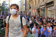 Crowds gathering on Istiklal St. Stock Photo