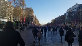 Crowds Gathering for the Johnny Hallyday Funeral Procession. On On December 9th 2017 in Paris, France the the Anenue des Champs Elysees was closed to traffic for Stock Image