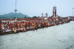 Crowds on the ghats at Haridwar, India. Stock Photo