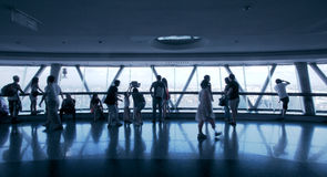 The crowds in the glass viewing platform Royalty Free Stock Photography
