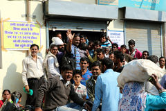 Crowds have been gathering outside banks across India Stock Photos