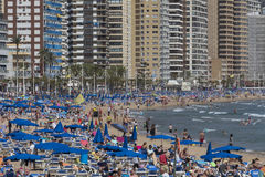 Crowds of Holidaymakers in Benidorm - Spain Royalty Free Stock Images