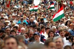 Crowds of Hunagrian catholic pilgrims Stock Photo