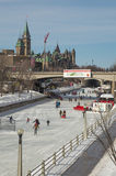 Crowds ice skating on the frozen Rideau Canal Ottawa Winterlude Stock Photos