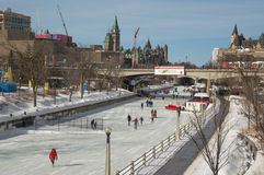 Crowds ice skating on the frozen Rideau Canal Ottawa Winterlude Royalty Free Stock Photo