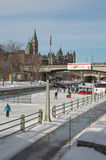 Crowds ice skating on the frozen Rideau Canal Ottawa Winterlude Royalty Free Stock Photography